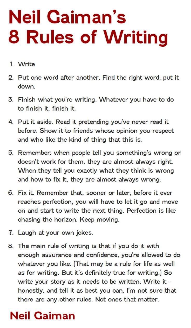 neil gaiman rules of writing